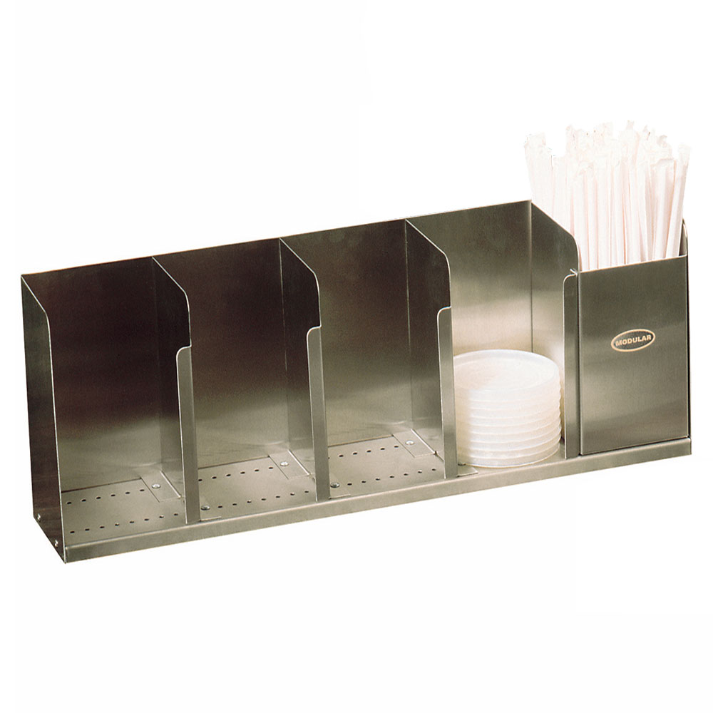 "Modular Dispensing Systems 1004065 22"" Countertop Lid Dispenser w/ 5-Adjustable Dividers, 12.5"" H, Stainless"