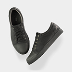 Mozo 3839 BKW 10.5 Men's Maverick Canvas Shoes, Slip-Resistant, Black & White, Size 10.5