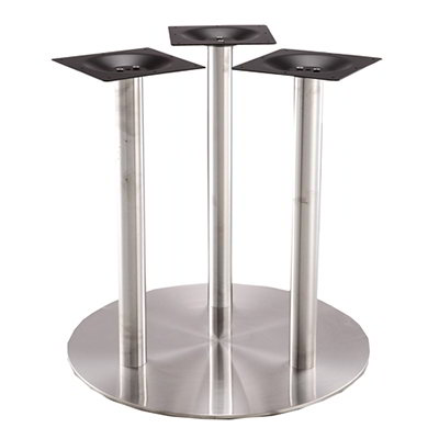 "Art Marble Furniture SS20-28D 28.34"" Round Base - Indoor/Outdoor, Triple Column, Stainless"