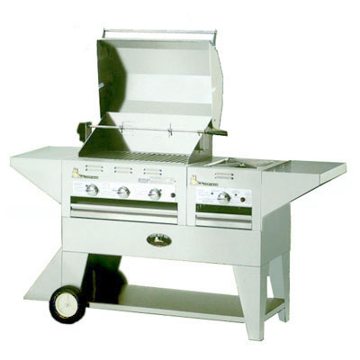 "Big Johns Grills & Rotisseries 210-28/20M 28"" Mobile Gas Commercial Outdoor Grill w/ Rotisserie, LP"