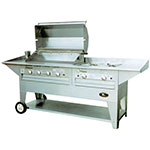 "Big Johns Grills & Rotisseries 210-40/30M 40"" Mobile Gas Commercial Outdoor Grill w/ Rotisserie, LP"