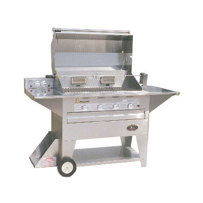 "Big Johns Grills & Rotisseries 210-40M 40"" Mobile Gas Commercial Outdoor Grill w/ Rotisserie, LP"