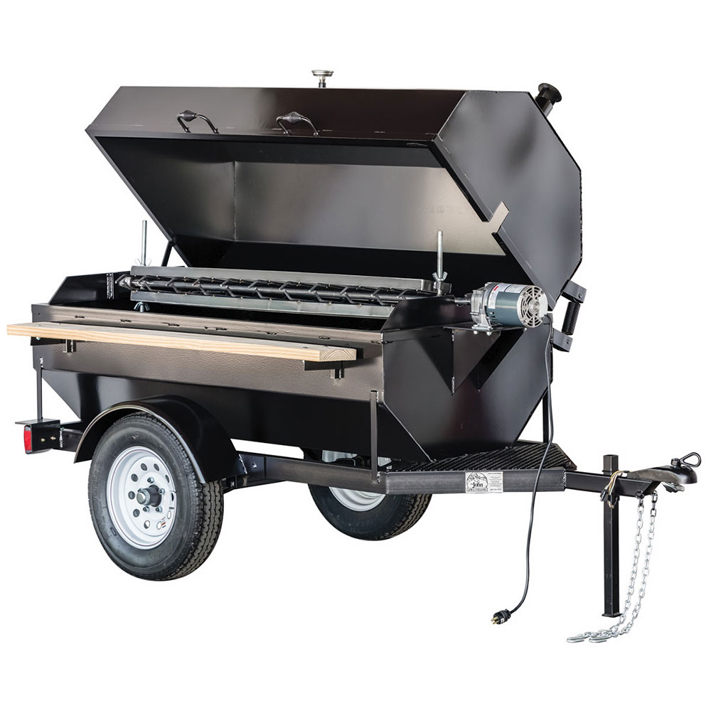 "Big Johns Grills & Rotisseries 6SDR 68"" Towable Charcoal/Wood Commercial Outdoor Grill"