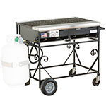 "Big Johns Grills & Rotisseries A2CC-LPCI 32.5"" Mobile Gas Commercial Outdoor Grill w/ Multiple Heat Zones, LP"