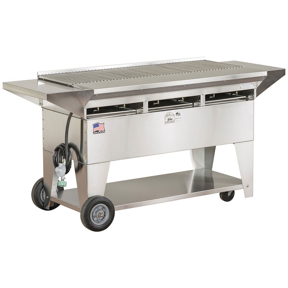 "Big Johns Grills & Rotisseries A4CC-SSE 65"" Mobile Gas Commercial Outdoor Grill w/ Multiple Heat Zones, LP"