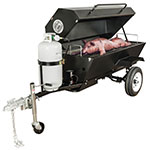 "Big Johns Grills & Rotisseries E-Z WAY 60"" Towable Gas Commercial Outdoor Roaster Smoker w/ Gas Tank Support, LP"