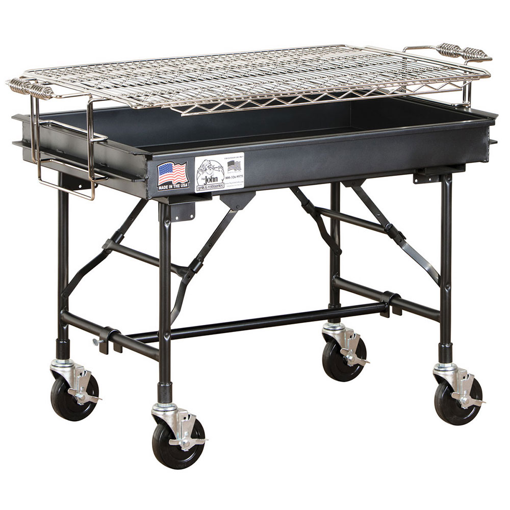 Big Johns Grills & Rotisseries M-13FB 2 x 3-ft Grill w/ Folding Legs, 4-in Casters, Black