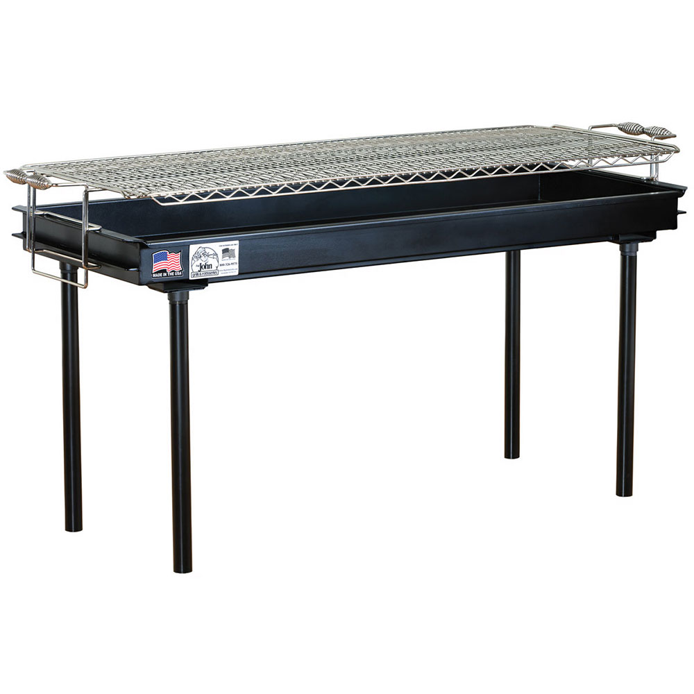 Big Johns Grills & Rotisseries M-13AB 2 x 3-ft Grill w/ Screw-In Legs, Black