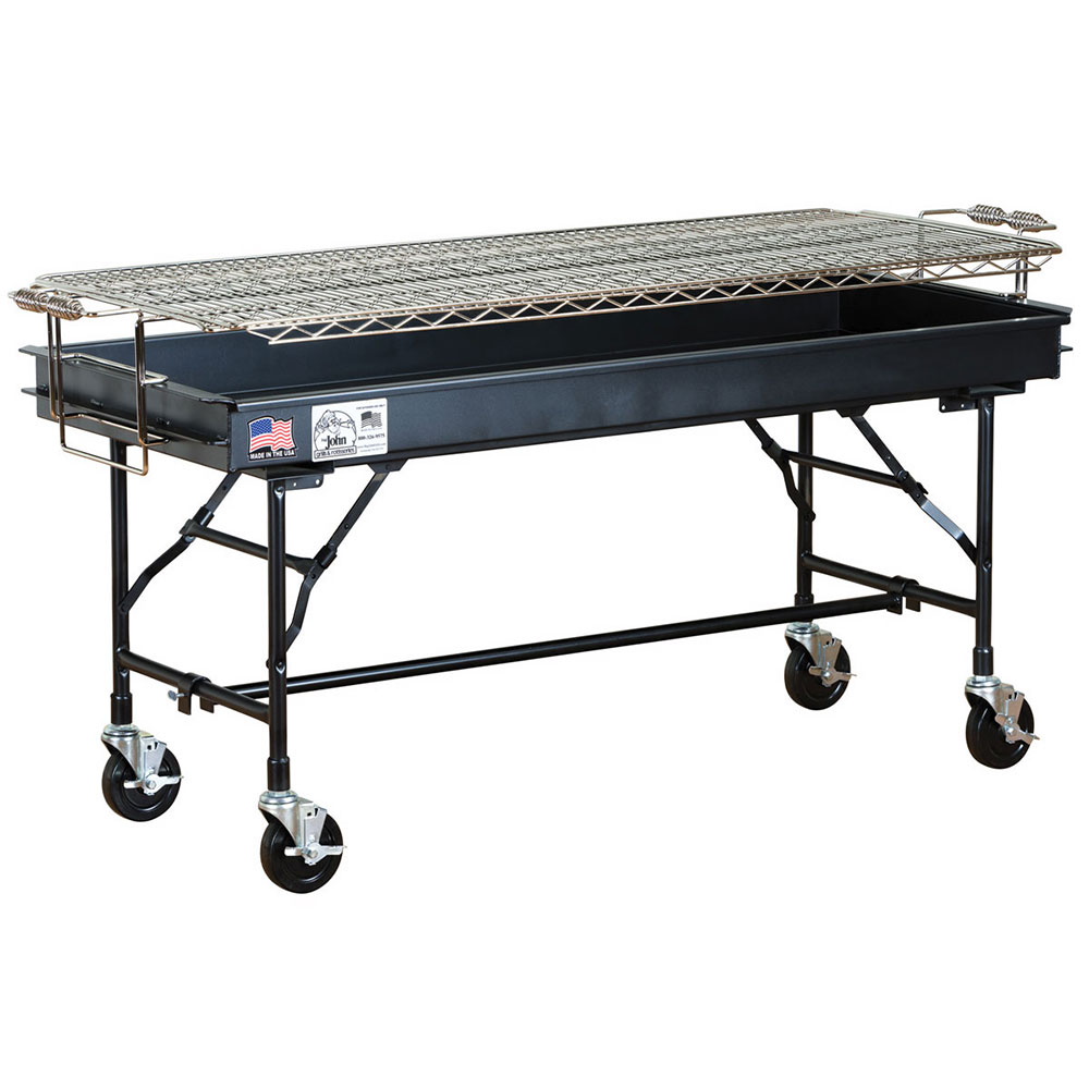 "Big Johns Grills & Rotisseries M-15FB 60"" Mobile Charcoal Commercial Outdoor Grill w/ Painted Finish"