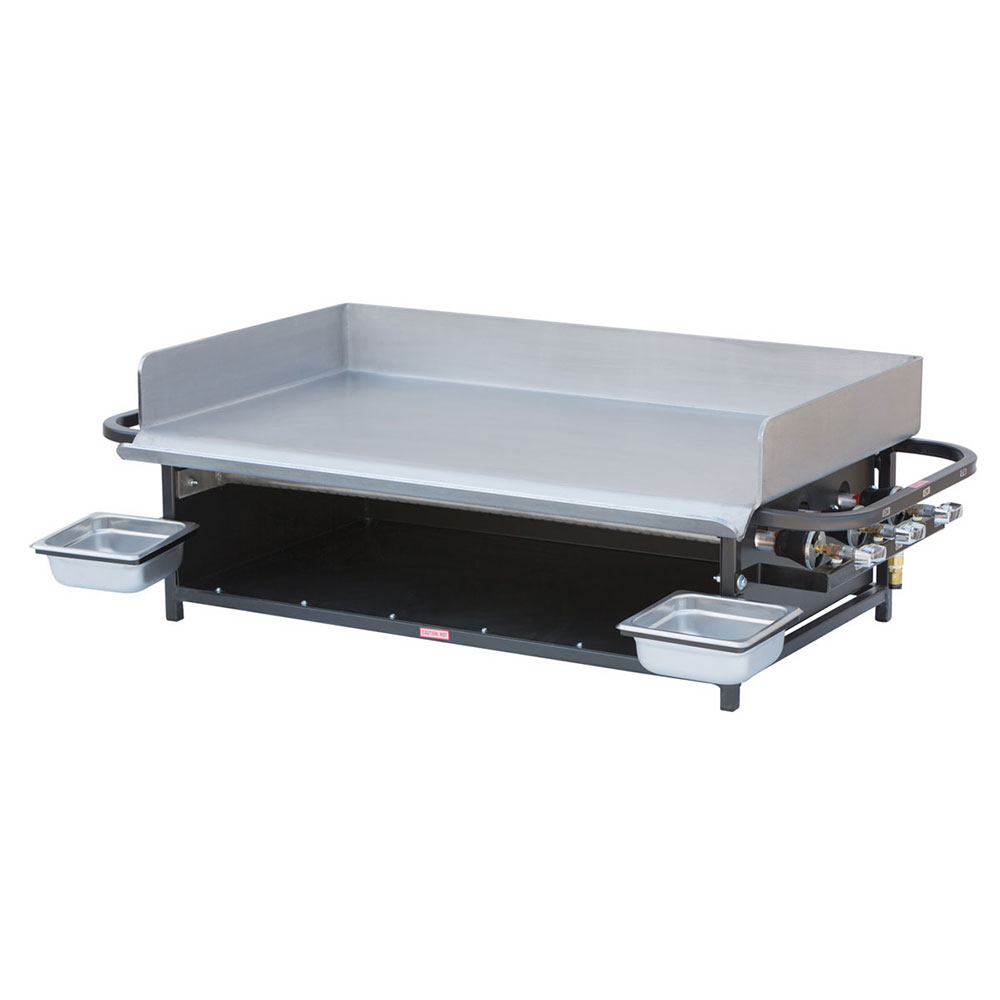 "Big Johns Grills & Rotisseries PG-36 20x36"" Portable Gas Griddle - 30,000-BTU Burners, Stainless"