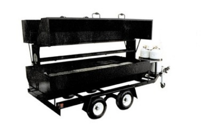 Big Johns Grills & Rotisseries RW8DDG 8-ft Double Door Towable Propane Grill w/ Dual Axle