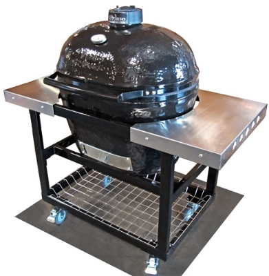 Primo Grills PRM310 Cart w/ Basket & Stainless Steel Side Table For XL Oval