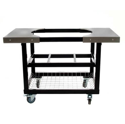 Primo Grills PRM320 Heavy Duty Cart w/ Basket & Stainless Steel Side Table For Junior Oval