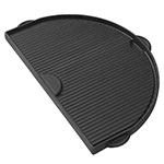 Primo Grills PRM362 Half Moon Cast Iron Griddle For Oval Junior w/ 1-Smooth & 1-Grooved Side