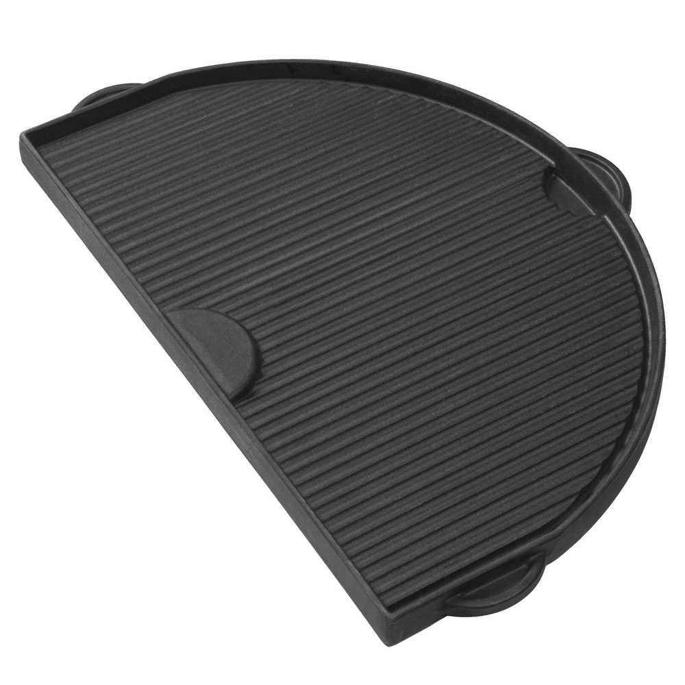 Primo PRM362 Half Moon Cast Iron Griddle For Oval Junior w/ 1-Smooth & 1-Grooved Side