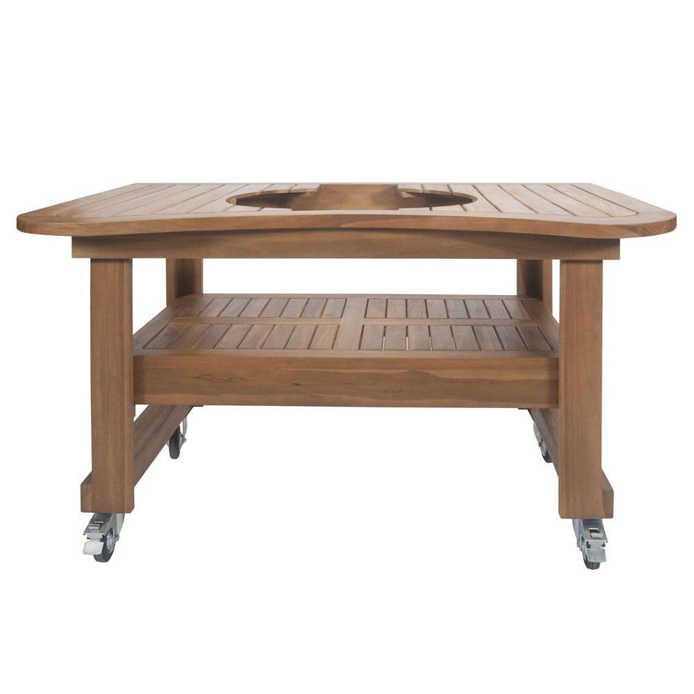 Primo Grills PRM603 Teak Table For Oval XL, 61 x 38 x 32-in