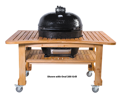 Primo Grills PRM610 Teak Table for Oval 200 - 39x25x36""