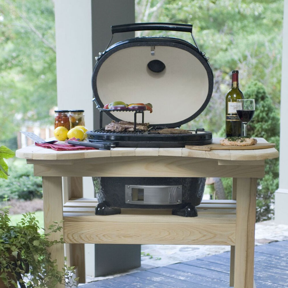 Primo PRM774 Oval Junior Grill w/ 210-sq/in Expandable Cooking Surface, Black