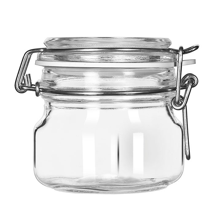 Libbey 17207223 6.75-oz Glass Jar - Clamp Lid, Large Open...