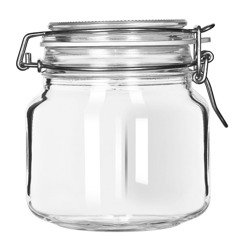Libbey 17209925 25.25 Oz Glass Jar   Clamp Lid, Large Opening, Rubber Seal