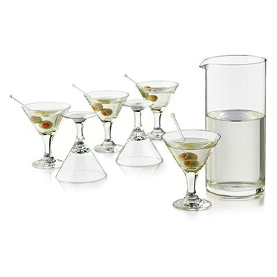Libbey Glass 3701YS6 Just Cocktails Mini Martini Set w/ 6-Glasses & Pitcher