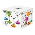 Libbey 37799S4/Y4400 Z-Colors Martini Set w/ 4-Glasses