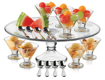 Libbey 3801YS8 Just Desserts Mini Flare Set w/ 8-Bowls, 8-Spoons, Platter & Recipe Card