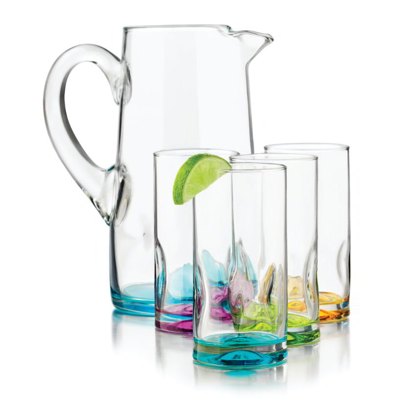Libbey Glass 56057 Impressions Colors Set w/ 4-Coolers & 1-Pitcher