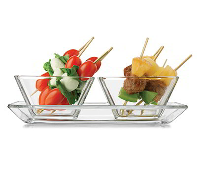 Libbey 56123 Just Tasting Appetizer Set w/ 2-Square Bowls & Platter