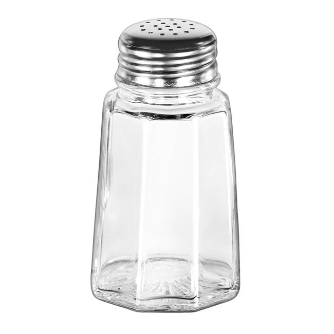 Libbey 75351 2.88-oz Gibraltar Glass Salt Pepper Shaker - Stainless Steel Top