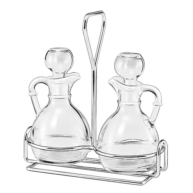 Libbey 80371 3-Piece Glass Cruet Set w/ Stoppers & Wire Rack
