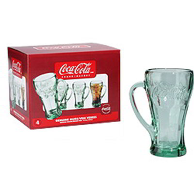 Libbey Glass 89640CC Genuine Coca Cola Mug Set w/ (4) 14.5-oz Mugs