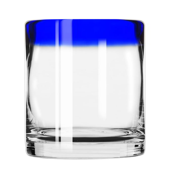 Libbey 92313 10-oz Aruba Rocks Glass w/ Cobalt Blue Rim