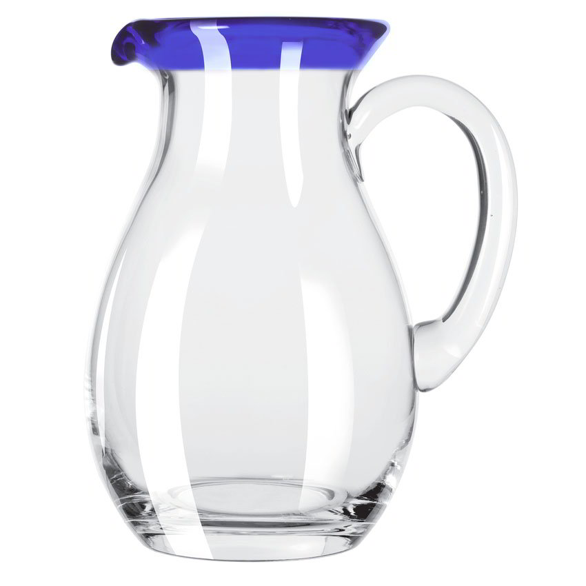 Libbey 92317 56-oz Aruba Glass Pitcher w/ Cobalt Blue Rim