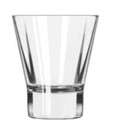 Libbey Glass 15821 9-oz DuraTuff Quadra V Heavy Sham Flare Rocks Glass, Square Shape