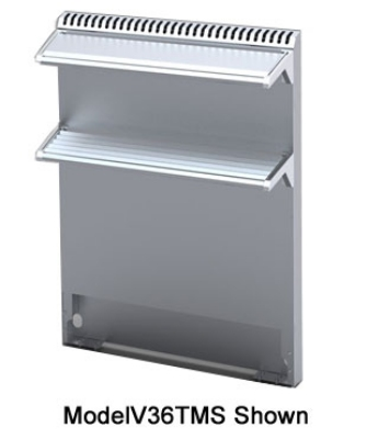 Viking Commercial V102TMS 102-in Tall Back Flue Riser w/ Double Mixer Shelves, Stainless Flue Cap