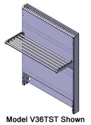 Viking Commercial V108TST 108-in Tall Back Flue Riser w/ Single Tubular Shelf, Stainless Flue Cap