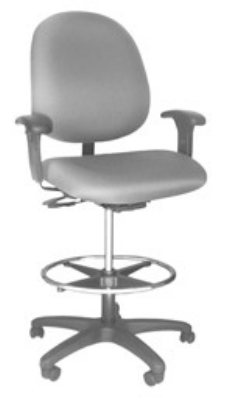 "Ergocraft E-31754V-ST Stratus Task Stool w/ Medium Back & 2-Paddle Deluxe V Control, 20"" Footring"