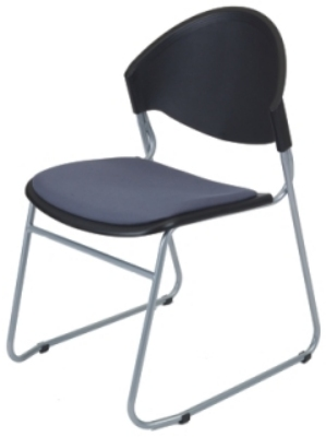 Ergocraft PS-1420UA Zazz Stacking Chair w/ Polypropylene Shell & Steel Frame, 7-High, Upholstered