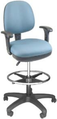 Ergocraft SS-20651-ST Workmate Task Stool w/ Medium Back & 1-Paddle Seat Height Adjustment, Footring