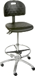 "Ergocraft SS-22321-ST Polyurethane Grease Resistant Stool w/ 20"" Footring, Adjustable Height, Black"