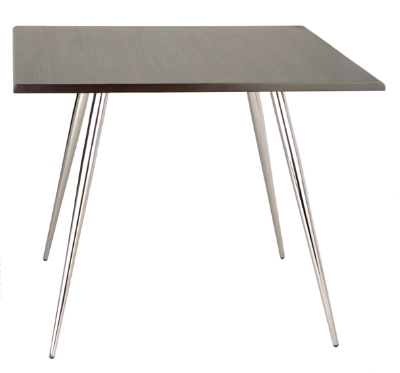 Ergocraft TS-30342-CW Curve Lunchroom Square Table w/ 42-in Coffee Wood Top, Sleek Chrome Frame
