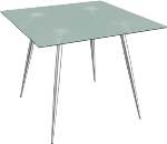Ergocraft TS-30336-FG Curve Lunchroom Square Table w/ 36-in Frosted Glass Top, Sleek Chrome Frame