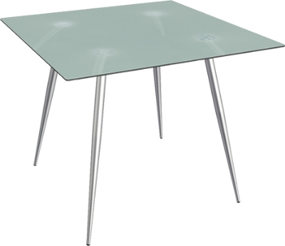 Ergocraft TS-30436-FG Curve Lunchroom Square Table w/ 36-in Frosted Glass Top, Sleek Chrome Frame