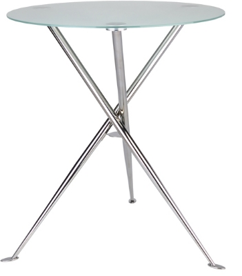 Ergocraft TS-31536-FG Curve Cafe Heights Table w/ Chrome Finish & 3-Intersecting Leg, Frosted Glass