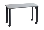 "Ergocraft TS-40452 ALU 30"" Motion Series Training Table w/ Locking Casters, Rectangular, Alumicast"