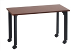 "Ergocraft TS-40455 MAH 48"" Motion Series Training Table w/ Locking Casters, Rectangular, Mahogany"