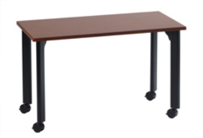 Ergocraft TS-40454 MAH 42-in Motion Series Training Table w/ Locking Casters, Rectangular, Mahogany