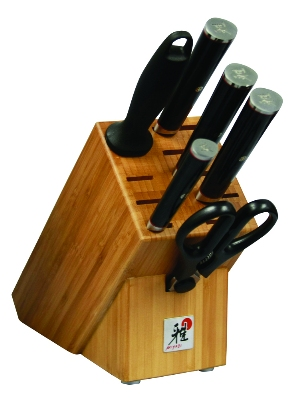 Zwilling J.A. Henckels 34180-000 7-Piece Kaizen Series Block Set w/ 4-Knives, 9-in Steel, Shears &a