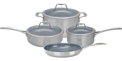 "Henckels 64080-000 7-Piece Set; 1-qt Sauce & 3-qt Saute Pan, 6-qt Dutch Oven w/ Lids, 10"" Fry Pan"
